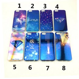 Wholesale Tpu Print Case 5s - New High Quality Fashion Painting Print Patterns Blue Ray Soft TPU Back Case Cover Shell for iPhone 5 5s 6 6s Plus