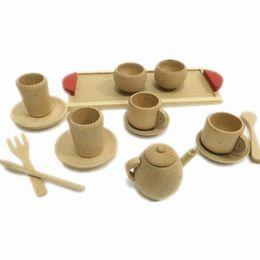 Wholesale Toys Tea Set - Baby Toys Nature Beech Wood Tea Set Wooden Toys Cup Set Pretend Play Kitchen Toys Educational Infant Birthday Gift