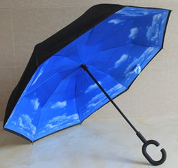 Wholesale Double Parasol Umbrella - Inverted Parasol Umbrella UV Protection Double Layer Reverse Rainy Sunny Umbrella with C J Handle Self Standing Inside Out Sun Umbrella NEW