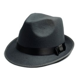 Wholesale black grey fedora hats - Wholesale-Women's Men's Fedora Crushable Genuine Felt Bush Sun Hat Trilby Gorra Toca Sombrero with band