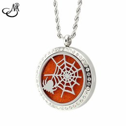 Wholesale Wholesale Rhinestone Spider Necklace - 10pcs 316L S.Steel Spider Web Diffuser Essential Oil Perfume Locket Rhinestone Magnetic Aromatherapy Lockets Pendant Necklace MIA022