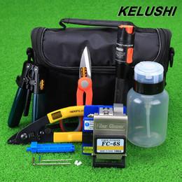 Wholesale Stripper Set - Wholesale- KELUSHI 15pcs set FTTH Fiber Optic Tool Kit with FC-6S Fiber Cleaver and 10mW Visual Fault Locator Fiber Optic Stripper