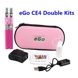 Wholesale Double E Cigarette Kit - eGo CE4 Double Kits Various Colors with 650 900 1100mAh eGo-T Battery CE4 Atomizer E Cigarette ego CE4 Zipper Starter Kit vs eVod MT3 DHL