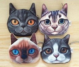 Wholesale Wholesale Novelty Coin Pouch - New Novelty Cats Dogs Coin Purse Cute Kids Cartoon Wallet Lovely Bag Coin Pouch Children Purse Holder Women Coin Wallet 3D Printing