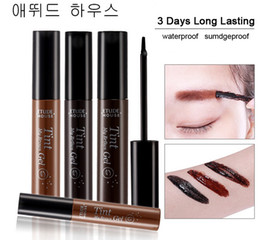 Wholesale Eyebrow Dye Color - 12pcs Peel off Eyebrow Enhancer Tint Gel Tattoo Makeup Eyebrow Cream Dye Color Natural 3 Days Long Lasting 5g