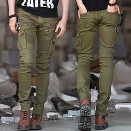 Wholesale Green Cargo Skinny Pants - ArmyGreen Black Denim Biker jeans Mens Skinny 2016 Runway Distressed slim elastic jeans homme hiphop Washed Military cargo pants