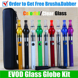 Wholesale Evod Electronic Cigarette Starter Kits - Glass Globe Dab vape pen EVOD vaporizer dry herb Wax Vaporizer Pen electronic cigarette evod passthrough oil wax vaporizer pen starter kits