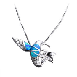 Wholesale Fire Opal Necklace Sterling - Women Fashion Blue Fire Opal Bird with Flower Pendants & Necklaces 925 Sterling Silver Filled White CZ Animal Necklace