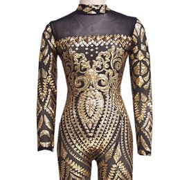 Wholesale Geometric Tattoos - Wholesale- 2017 Womens Vintage Jumpsuit Romper Sexy Gold Geometric Tattoo Sequin Jumpsuit Women Long Sleeve Sequined Women Bodysuit Catsuit