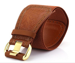 Wholesale Wholesale Bronze Wire - Birthday Gifts Europe America Wire Drawing Carving Faux Leather Needle Buckle Lady Elastic Wide Belt Fashion Wide Belts
