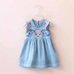Wholesale Girls Denim Tutu - 2016 Summer New Girl Dress Ruffle Collar Colorful Embroidery Denim Sundress Baby Denim Dress Children Clothing 90-130CM