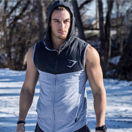 Wholesale Button Up Vest - Wholesale-Men Hooded sleeveless undershirt Cotton Sport vest waistcoat sleeveless Tank Top Mens Workout fitness hoodies sweatshirts Gym