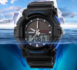 Wholesale Men Watches Solar - Wholesale Men Leisure Outdoor Sport Watches Solar Power Dual time Chrono 5ATM Waterproof Wrist Watches 1050