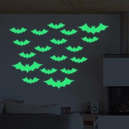 Wholesale Wholesale Murals - Halloween Bats Wall Decals Fluorescence Stickers Glow in The Dark Living Room Bedroom Removable Wall Stickers Murals