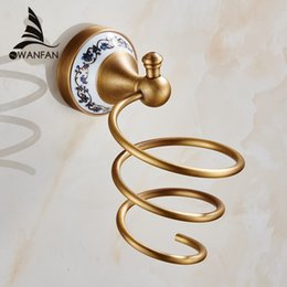 Wholesale Wall Corner Shelves - Classic Wall Mounted Hair Dryer Holder Antique Brass Hair Dryer Rack Bathroom Accessories Storage Shelves Free Shipping HJ-1823F