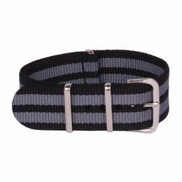 Wholesale 18mm Nylon Watch - Wholesale-Wholesale 18 mm Multi Color Black Grey Army Sports nato fabric Nylon watchband Watch Strap accessories Bands Buckle belt 18mm