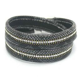 Wholesale Leather Bracelet Jewel - 016 Top Fashion Women's Charm Bracelets Personality Printed Pave Setting Wrap Leather Serpentine Bracelets Jewelry. Cheap bracelet jewel...