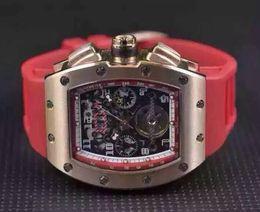 Wholesale Massa Flyback - Wholesale Luxury Men Automatic Wristwatch Classic Rose Gold RM011 Big Face Felipe Massa Flyback Transparent Mens Mechanical Tourbillon Watch