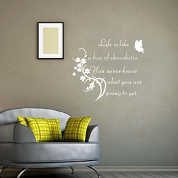Wholesale Chocolate Bedroom - Inspirational Quote Wall Sticker Life Is Like A Box Of Chocolate Home Decor Butterfly Wall Decals Living Room Decoration