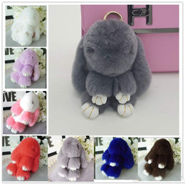 Wholesale play monkeys - By DHL 2016 New Rex Play Dead Rabbit Key chain Plush Toys Fur keychains Car Rabbit Doll Pendant Cute Toys Wallet Handbag Pendant 20 Colors