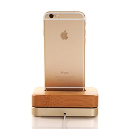 Wholesale Iphone Samdi - good quality SAMDI Wooden & Aluminum Charger Dock Cradle for iPhone 6 5S 5 Wood Phone Stand Mobile Holder for iPhone