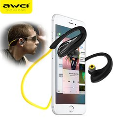 Wholesale Iphone Iphone5 - Black Awei A880BL Wireless Sports Earphones headphone Bluetooth V4.0 Earhook headset For iphone5 5s 6 6s 6plus 7 7plus for Smartphone