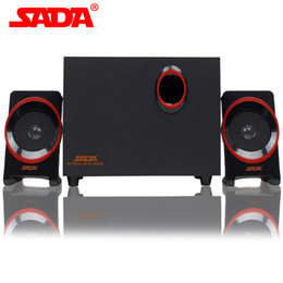 Wholesale Wooden Pc Speakers - Wholesale- SADA SL-8018 Multimedia PC Wooden Speaker USB 2.1 Smart Phone Portable Surround Subwoofer Computer Speakers for Notebook Laptop