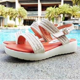 Wholesale Leather Sandals Pearls - 2016 New Arrival Kids Sandal for Girl Shinning Pearl and Diamand PU Leather Upper PU Outsole White Gold Simple Generous Free FedEx Shipping