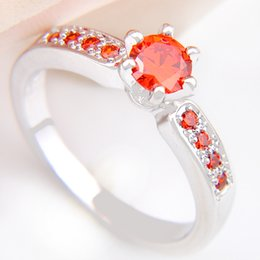 Wholesale Lucky Ring Red - 5 Pieces 1 lot Lucky Shine Full Stones Ring Rare Brazil Citrine Crystal 925 Sterling Silver Rings Russia American Australia Wedding Rings