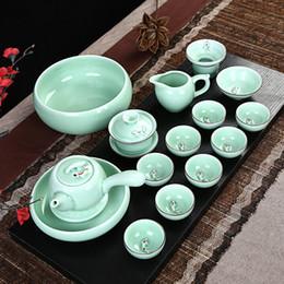 Wholesale Tea Fishing Cup - Wholesale-Tea Set High-grade Bone China Tea Cup Dehua Fish Hand-painted Celadon Ceramic Carp Handmade Kung Fu Tea Set Drinkware