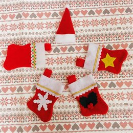 Wholesale Cheap Knife Bags - Cheap Home Supplies Xmas Table Decoration Accessories Festival Party Ornament Knife and Folk Bags New Year Decoration 5 Style Free Shipping