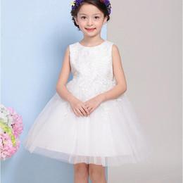 Wholesale Easter Shirt For Child - New flower girls dresses for weddings sleevless Little flower girl dresses children Lace Embroidery Knee length dress