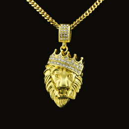 Wholesale Mens Lion Chains - Mens Lion Head Crown Pendant Necklace Gold Hip Hop Cuban Link Chain Simulated Diamonds Necklaces Jewelry