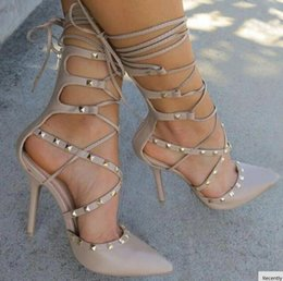 Wholesale Wedding Booties - hot 2017 Roman Sandals Women Pumps European New Style Booties Ladies Sexy Hollow Cross Lace Up Rivets Stiletto High Heels Shoes Woman