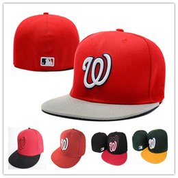 Wholesale National Team Caps - Cheap Nationals Fitted Caps W Letter Baseball Cap Embroidered Team W Letter Size Flat Brim Hat Nationals Baseball Cap Size