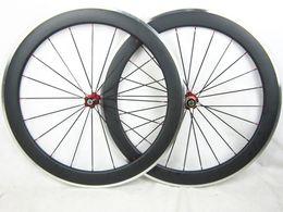 Wholesale Cnc Bike Wheels - 1590g pair 700C 50mm carbon aluminum 50mm clincher F20 R24h wheel UD glossy ultralight ceramic hub free titanium CNC skewers