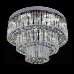 Wholesale Led Gu4 - 3 layers modern crystal ceiling chandelier LED crystal light fixture luxury foyer crystal chandeliers free shipping