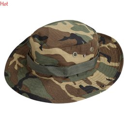 Wholesale Women Camouflage Cap - Mens Bucket Hats Outdoor Fishing Hiking Boonie Snap Brim Military Sun Hat Cap Military Camouflage Woodland Camo Sun Hats New Sale SV003003