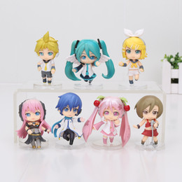 Wholesale Miku Figures - 7pcs set Anime Hatsune Miku Figure Figma figure PVC Action Figure keychain pendant Collectible Model Toy 5cm