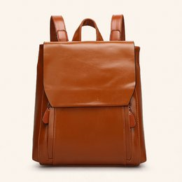 Wholesale Leather Fashion Backpack Vintage - Womens backpacks Edge fashion stylish durable bucket ladies genuine patent leather travel or school backpacks for women