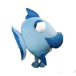 Wholesale Blue Fish Costume - Big High Quality Ocean fish Furry Polar Blue capelin Cartoon Mascot Costume Party Fancy Dress Adult Size