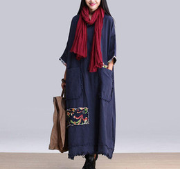 Wholesale Maxi Dress Free Size - Autumn and Winter Dress Blue Green Color Cotton Linen Dress Long Sleeve Maxi Dress Casual Loose Long Robe Plus Size Women Clothing