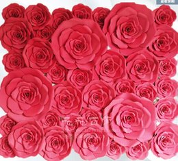 Wholesale Full Size Foam - Wedding Backdrops Full Wall 37pcs different sizes Combination Foam Paper big rose flowers for Wedding background decorations 2*2.4m wall