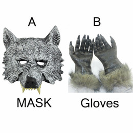 Wholesale Rubber Paws - Wholesale Halloween Party Latex Rubber Full Face Wolf Mask and 1 Wolf Paw Gloves Free Size