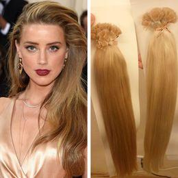 Wholesale Human Hair Flat Tip - 1g s 100g Human Remi Hair Black Brown Blond Straight Custom Capsule Keratin Flat Tip Fusion Human Hair Extensions