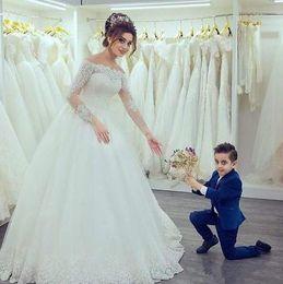Wholesale Dress Bride Boat - 2017 Gorgeous Elegant Boat Neck Long Sleeves Off the Shoulder Wedding Gowns Tulle Lace Appliques Wedding Dresses Bride Gowns