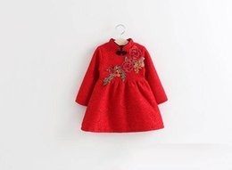 Wholesale Thick Girl Dresses Sleeves - 2017 Winter New fashion Girls Dresses Flowers Chinese style long sleeve Thick Cheongsam Dress Children Clothing