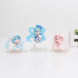 Wholesale Dolls Vocaloid Miku - 6cm 3styles Anime Vocaloid Hatsune Miku Sakura Bear Blue Pink Ver. PVC Action Figure Collectible Model Doll Kids Toys