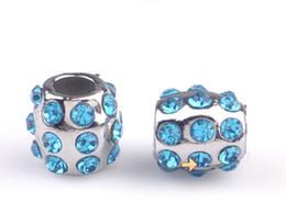 Wholesale Diamond Loose Rhinestones - fashion accessories charm Silver plated Full Diamond Big Hole Loose Beads Pandora DIY Jewelry Bracelet European Beaded Bracelet Necklace