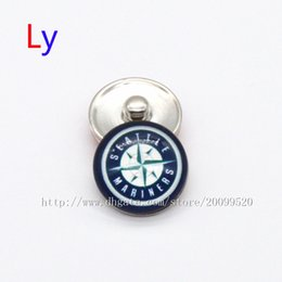 Wholesale China Wholesale Jewelry Accessories - 2016 fashion accessories seattle mariners MLB baseball glass snap button jewelry charm popper for bracelet jewelry making NE0073